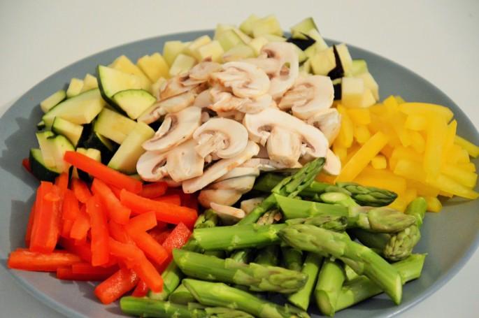 poivrons, courgette, asperges, champignons