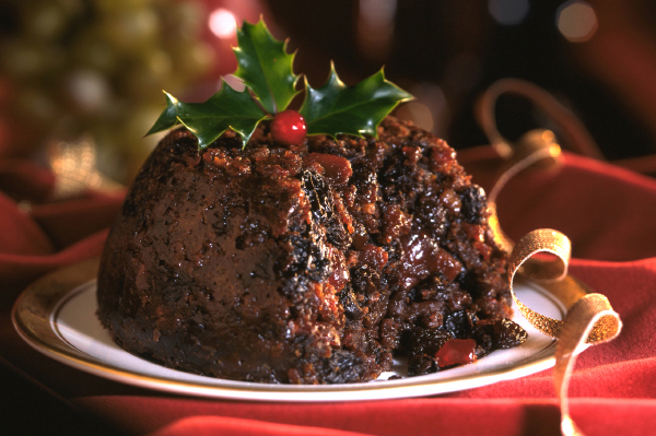 christmas-pudding-on-red-tablecloth